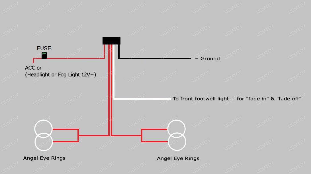 Angel Eye Diagram 02 how to install the halo led angel eyes rings for bmw e46 325i 330i m3 anzo wiring harness diagram at fashall.co