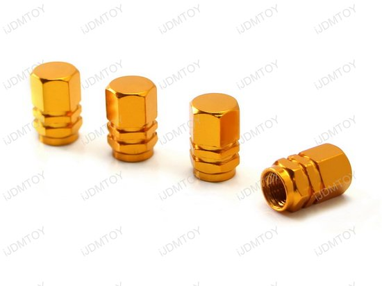 Tuner Racing Style Aluminum Tire Valve Caps Hexagon Shape