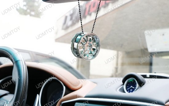 silver rim wheel car rearview mirror hanging charm dangling pendant ornament ebay. Black Bedroom Furniture Sets. Home Design Ideas