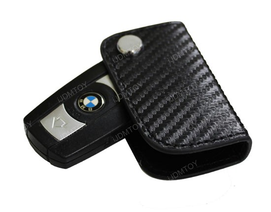 Bmw Black 3d Carbon Fiber Key Holder Key Fob For 1 3 5 6 X3 X5 X6 Series