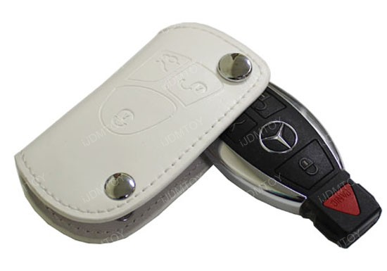 Mercedes benz white leather key holder key fob for c e s for Mercedes benz key holder