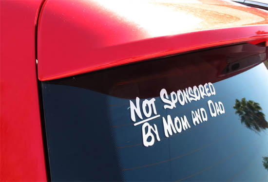 Cool My Car Is Not Sponsored By Mom And Dad Windows Bumper Sticker - Cool decals for trucks