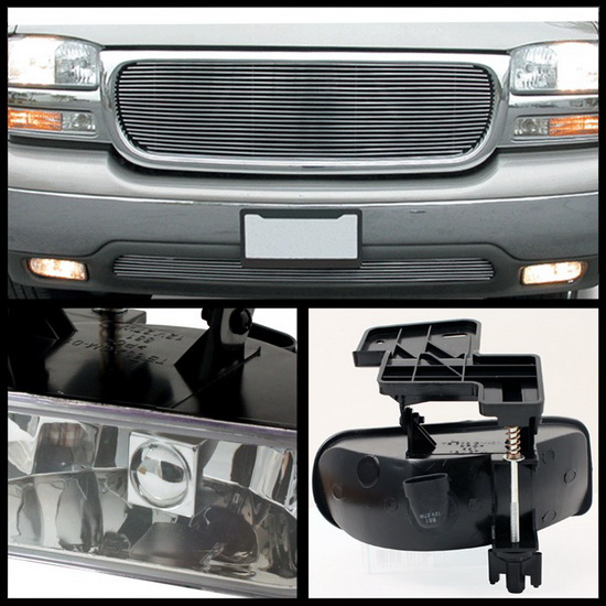 1999-2002 GMC Sierra 1500 2500 1500HD 2500HD 3500 C3 Yukon Clear Housing OEM Style Fog Lights