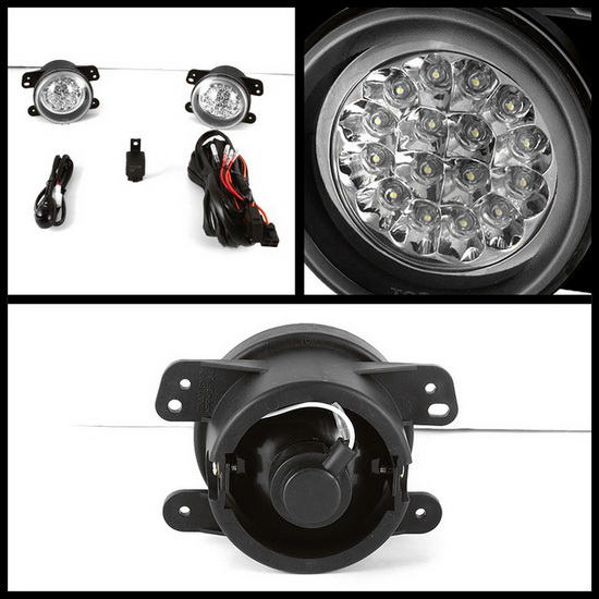 2005-2008 Dodge Magnum Journey Chrysler 300 PT Cruiser Jeep Wrangler Clear Housing LED Fog Lights
