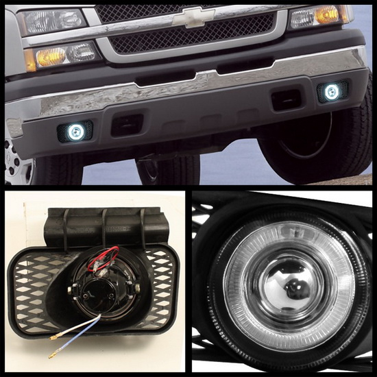 0305 Chevy Silverado Avalanche Smoke Halo Projector Fog Lights