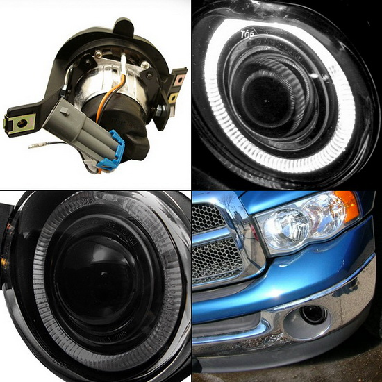 02 05 dodge ram 1500 2500 3500 smoke halo projector fog lights. Black Bedroom Furniture Sets. Home Design Ideas