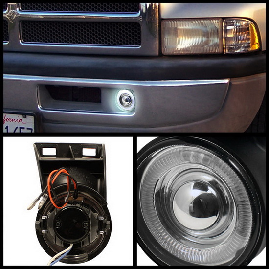 1994-2001 DODGE RAM 1500 2500 3500 Clear Housing Halo Projector Fog Lights