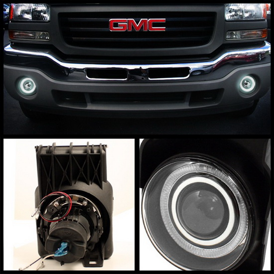 2003-2006 GMC Sierra 1500 2500 3500 1500HD 2500HD Smoke Housing Halo Projector Fog Lights