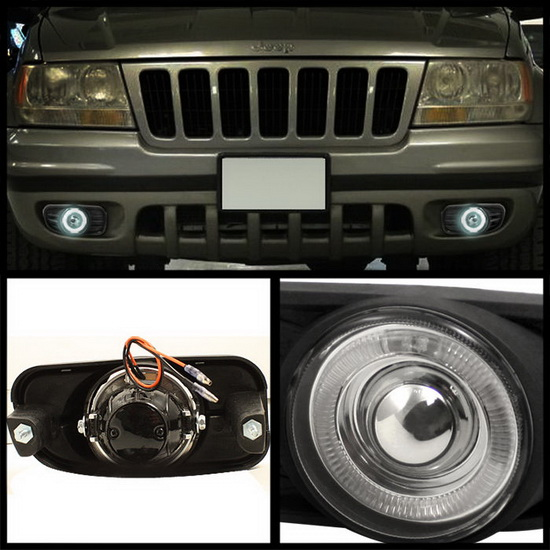 1999-2004 Jeep Grand Cherokee with Switch Clear Housing Halo Projector Fog Lights