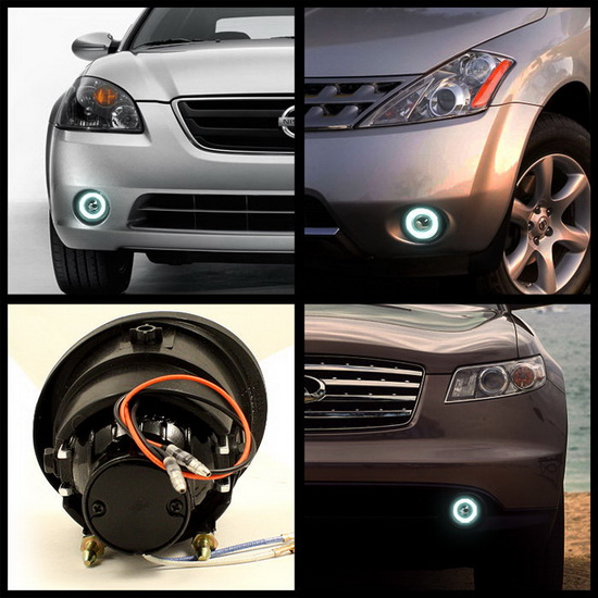 2002-2004 Nissan Altima Murano Infiniti FX35 FX45 Clear Housing Halo Projector Fog Lights