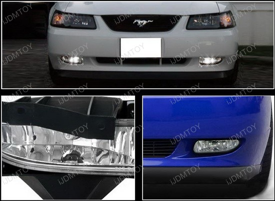 LF MST99C WJ 4 1999 2004 ford mustang oem style clear housing fog lights 04 mustang fog light wiring harness at edmiracle.co