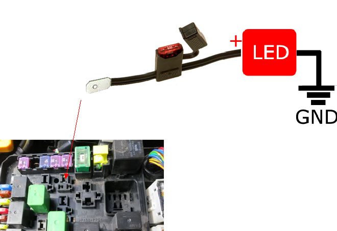 diagram for led daytime running lights finding acc 12v power how to acc 12v switched power from the fuse box